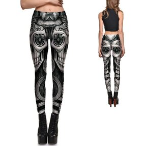 Női elasztikus leggings Flower Eyes Skull