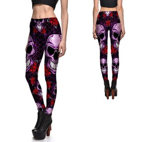 Női elasztikus leggings Skulls And Roses Purple
