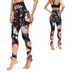 Fittnes leggings kötéssel Blackout Roses